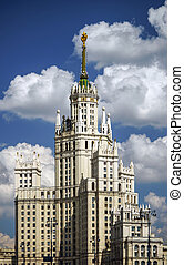 Moscow stalin skyscraper house on blue sky background