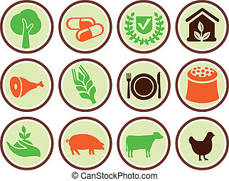 Set of agricultural icons - design elements with signs of...