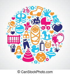 Vector concept for newborn greeting card - kid icons - toys...