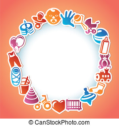 Vector frame with kid and toys stic