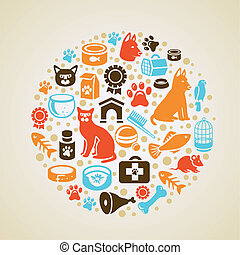 Vector frame with cat and dog icons - pet love concept