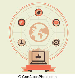 Vector concept of social media and marketing - vintage...