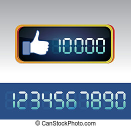Vector like counter for social media page - digital like...