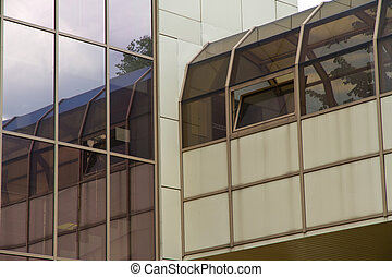 Curved exterior windows of a modern building