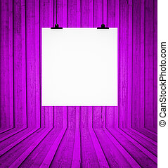 Blank board hanging at wall in purple retro room