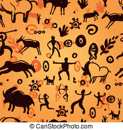 Vector seamless pattern with primitive art