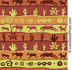 Vector seamless pattern with primitive art - abstract...