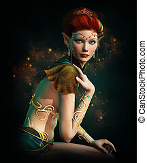 Elven Princess with Turquoise Jewelry - a elven princess...