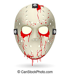 Hockey mask - Bloody Hockey Mask. Illustration on white...