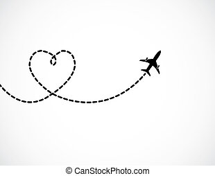 A Airplane flying in the white sky leaving behind a love...
