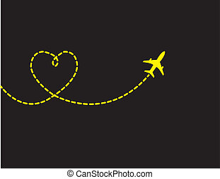 Love Travel Concept - A Airplane flying in the dark blue sky...
