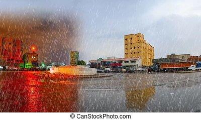 heavy rain at day and night - heavy rain over jeddah ring...