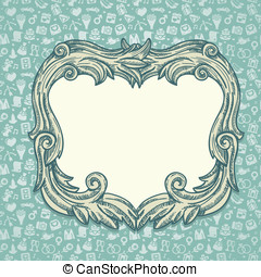 Vector vintage background with wedding icons
