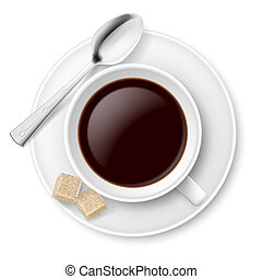 Coffee with sugar. Illustration on white background