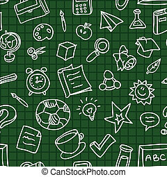 Vector seamless pattern with education icons - Bright vector...