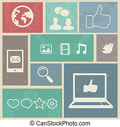 Set with vintage social media labels - vector illustration