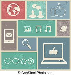 Set with vintage social media labels