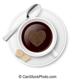 Coffee with sugar and spoon. Illustration on white...