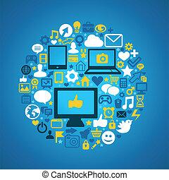 Social media concept - Round social media concept - vector...