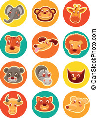 vector funny animal heads