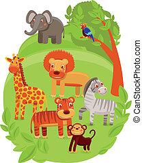 funny cartoon animals in green jungle - vector illustration