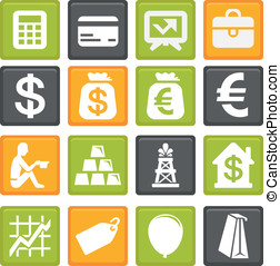 vector set with business and finance icons