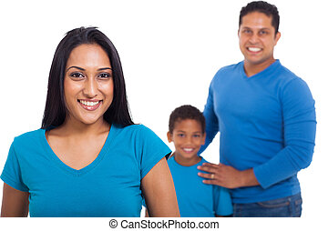 woman with her family - beautiful indian woman with her...