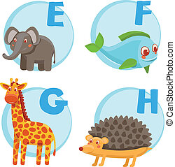 Vector funny cartoon alphabet - Elephant, Fish, Giraffe,...