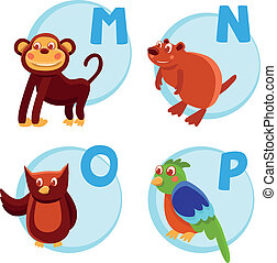 Vector funny cartoon alphabet - Monkey, Nutria, Owl, Parrot