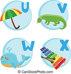 Vector funny cartoon alphabet - Umbrella, Varan, Whale,...