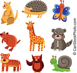 Cute cartoon animals - vector drawing set