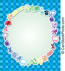Frame with education and science sticker - Frame with copy...