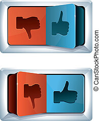social media internet concept - vector trigger with like and...