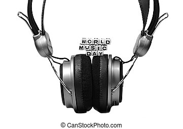 Headphone and World Music Day - World Music Day with sound...