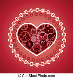 love concept in steam punk style - vector love concept in...