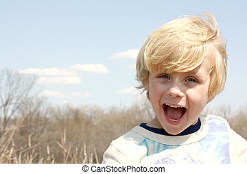 Happy Boy Outside - Smiling, Happy Child playing outside