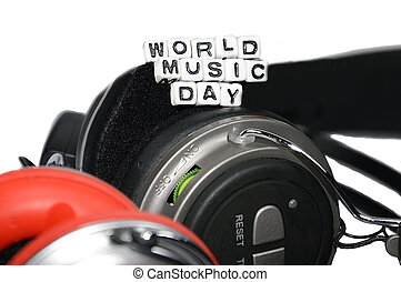 Closeup of world music day - World music day on top of two...