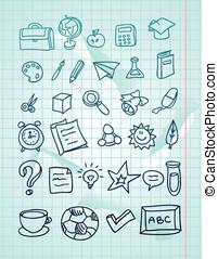 vector icon set - hand drawn school doodles