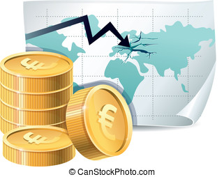 golden coins and map with cracks - euro finance crisis...