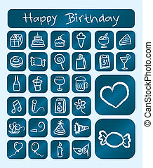Birthday Icons - Birthday icons object : gift, cake, ice...