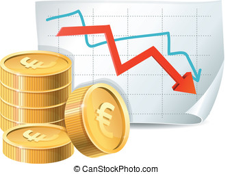 golden coins and descending graph - euro finance crisis...