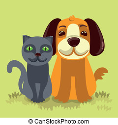friendly dog and cat on green grass