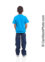 rear view of african american boy isolated on white...
