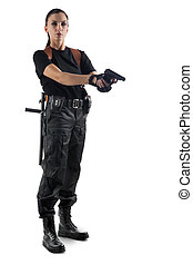 Police officer with gun is aiming Isolated on white