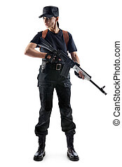 Police officer is holding Kalashnikov Isolated on white