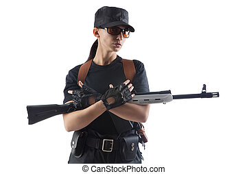 Officer woman with Kalashnikov machine gun Isolated on white...