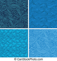 vector seamless pattern with hand-drawn waves - set of...