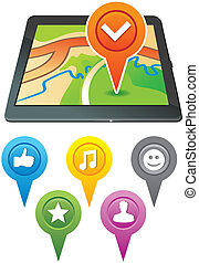 vector gps navigator with bright markers