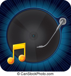 music concept - record player - vector music concept -...