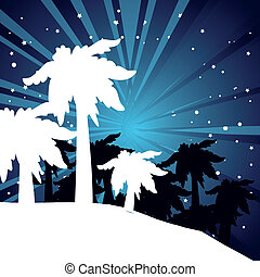 summer night with palm trees - vector summer night with palm...